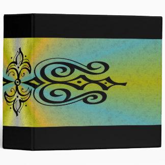 Ornamentation on blue yellow rainbow vinyl binders
