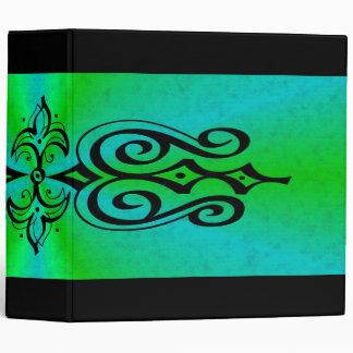 Ornamentation on green blue rainbow vinyl binder
