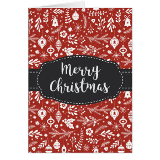 Ornaments Pine Swag Bells Red Merry Christmas Card