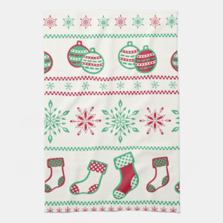 Ornaments, Stockings and Snowflakes Kitchen Towel