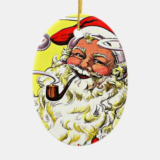 Ornaments Vintage Smoking Santa Claus Christmas