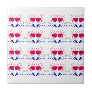 Ornaments white Tulips red RETRO TULIPS Tile