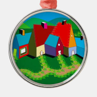 Ornaments with Folk Art Houses