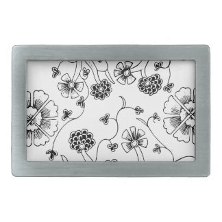 Ornate Abstract Flower Textile Pattern Belt Buckles