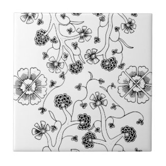 Ornate Abstract Flower Textile Pattern Ceramic Tiles