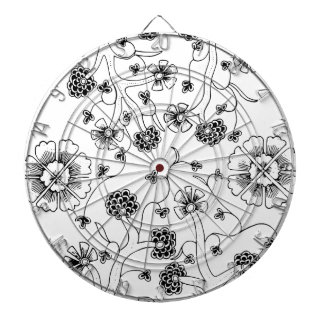 Ornate Abstract Flower Textile Pattern Dartboard