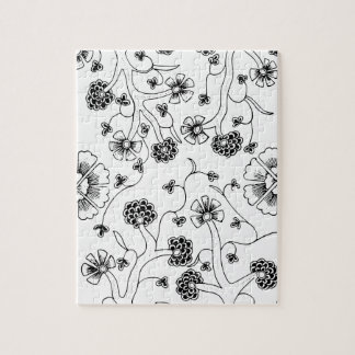 Ornate Abstract Flower Textile Pattern Jigsaw Puzzle