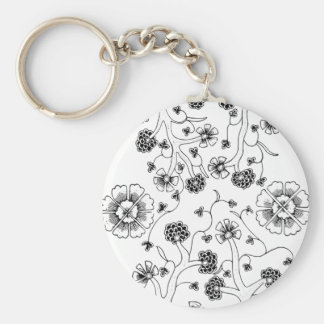 Ornate Abstract Flower Textile Pattern Keychain