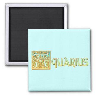 Ornate Aqua Blue and Gold Aquarius Refrigerator Magnets