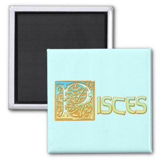 Ornate Aqua Blue and Gold Pisces Refrigerator Magnet