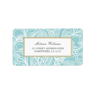Ornate Aqua Blue Floral Address Labels
