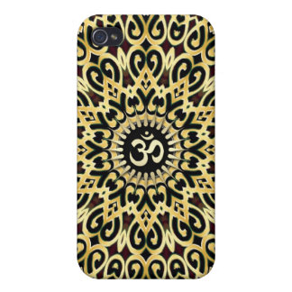 Ornate Arabesque Aum Gold Black iPhone 4 Case