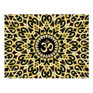 Ornate Arabesque Black + Gold OM Postcard