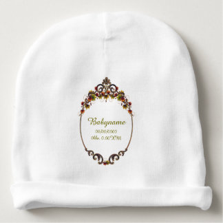 Ornate Autumn Leaves Text Frame Personalized Baby Beanie