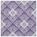 ornate baroque purple White Damask Fabric