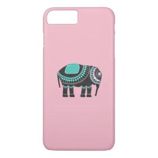 Ornate Black Elephant Art, Cute Pink iPhone 8 Plus/7 Plus Case