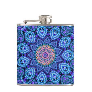Ornate Blue Flower Vibrations Kaleidoscope Art Hip Flask