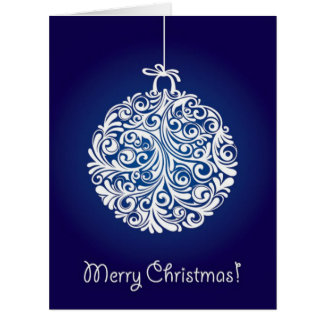 Ornate Blue & White Christmas Greeting Card