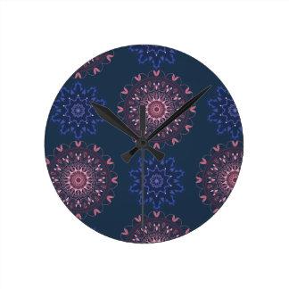 Ornate Boho Mandala Navy and Rose Clock