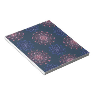 Ornate Boho Mandala Navy and Rose Notepad