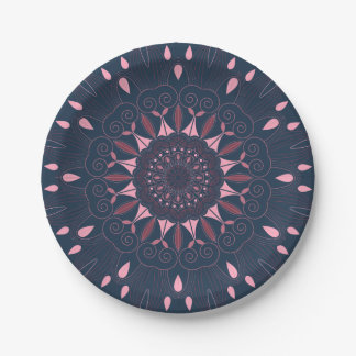 Ornate Boho Mandala Navy and Rose Paper Plate