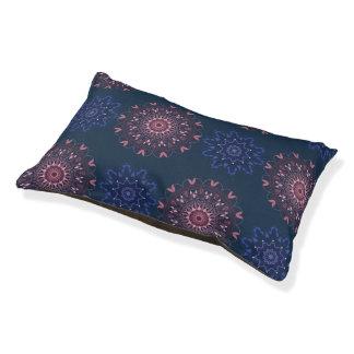 Ornate Boho Mandala Navy and Rose Pet Bed