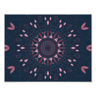 Ornate Boho Mandala Navy and Rose Poster