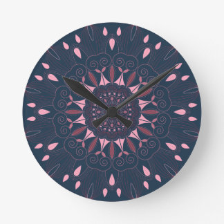 Ornate Boho Mandala Navy and Rose Round Clock