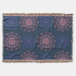 Ornate Boho Mandala Navy and Rose Throw Blanket