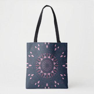 Ornate Boho Mandala Navy and Rose Tote Bag