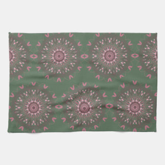 Ornate Boho Mandala Olive Kitchen Towel