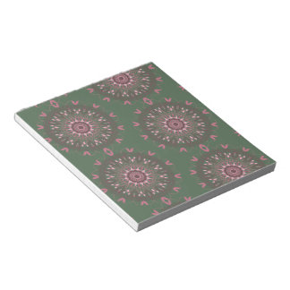 Ornate Boho Mandala Olive Notepad
