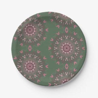 Ornate Boho Mandala Olive Paper Plate