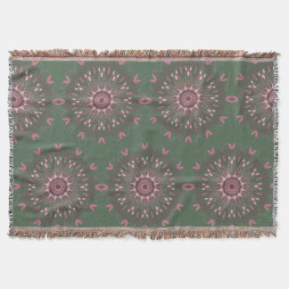 Ornate Boho Mandala Olive Throw Blanket