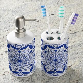 Ornate Boho Mandala Soap Dispenser And Toothbrush Holder