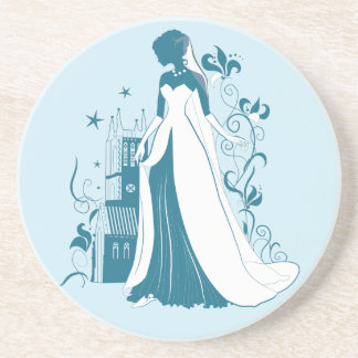 Ornate Bride Silhouette, flowers and gothic castle Coasters
