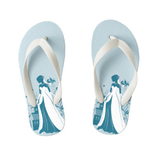 Ornate Bride Silhouette, flowers and gothic castle Kid's Flip Flops