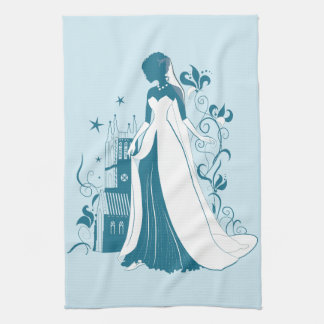 Ornate Bride Silhouette, flowers and gothic castle Kitchen Towel