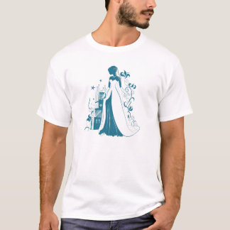 Ornate Bride Silhouette, flowers and gothic castle T-Shirt