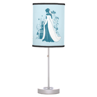 Ornate Bride Silhouette, flowers and gothic castle Table Lamp