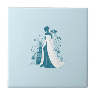 Ornate Bride Silhouette, flowers and gothic castle Tile