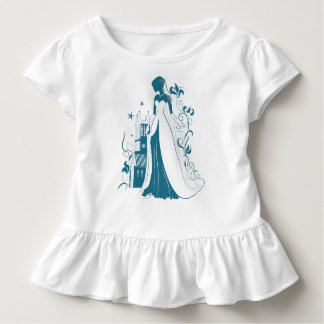 Ornate Bride Silhouette, flowers and gothic castle Toddler T-shirt