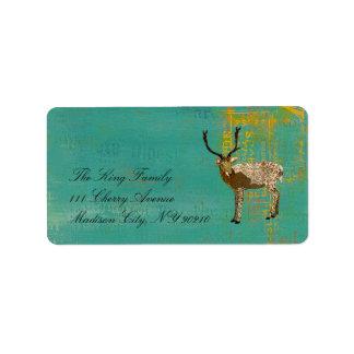 Ornate Bronze Buck Teal  Label Address Label