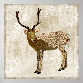 Ornate Bronze Buck White Vintage Poster