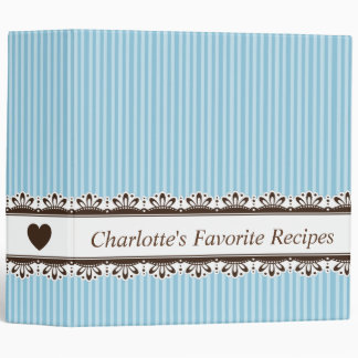 Ornate brown border blue stripes kitchen recipe vinyl binders