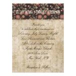Ornate Buck Floral White & Brown Wedding Invitatio Personalized Announcement