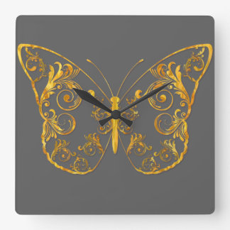Ornate Butterfly Square Wall Clock