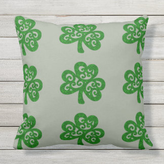 Ornate Celtic Shamrock Throw Pillow