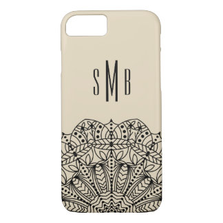 Ornate Chic Black Lacey Mandala & Initials iPhone 8/7 Case