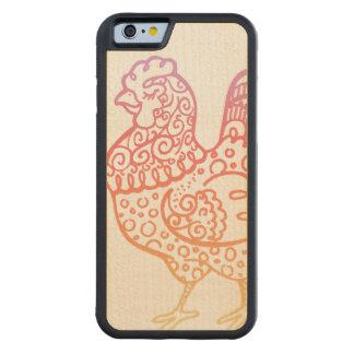 Ornate Chicken Lineart Maple iPhone 6 Bumper